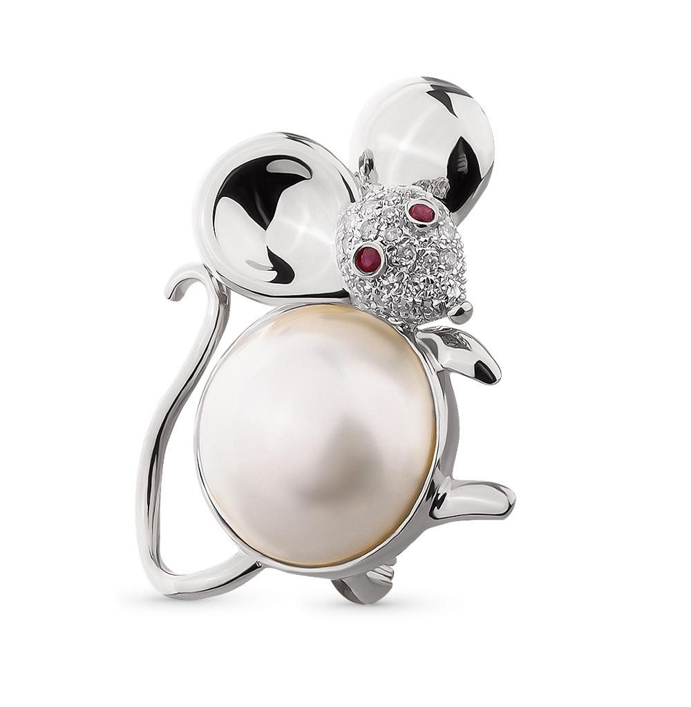 Фото «золотая брошь с бриллиантами, рубинами и жемчугом»