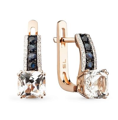 Фото «золотые серьги с бриллиантами, топазами и сапфирами»