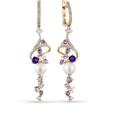 Фото «золотые серьги с бриллиантами, аметистами, топазами и жемчугом»