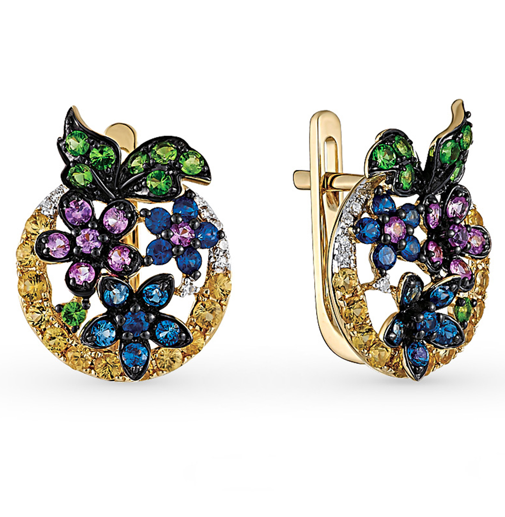 Фото «золотые серьги с бриллиантами, гранатами и сапфирами»