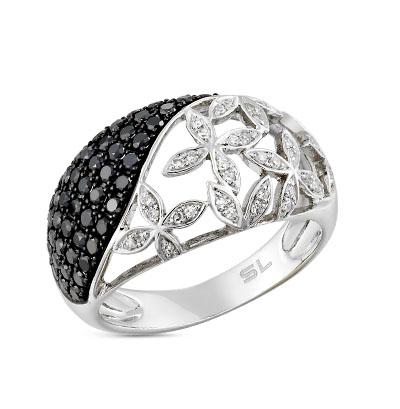 Фото «золотое кольцо с чёрными и белыми бриллиантами и сапфирами»