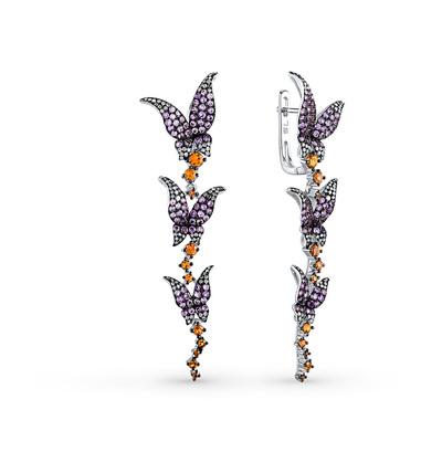 Фото «золотые серьги с бриллиантами, аметистами и сапфирами»