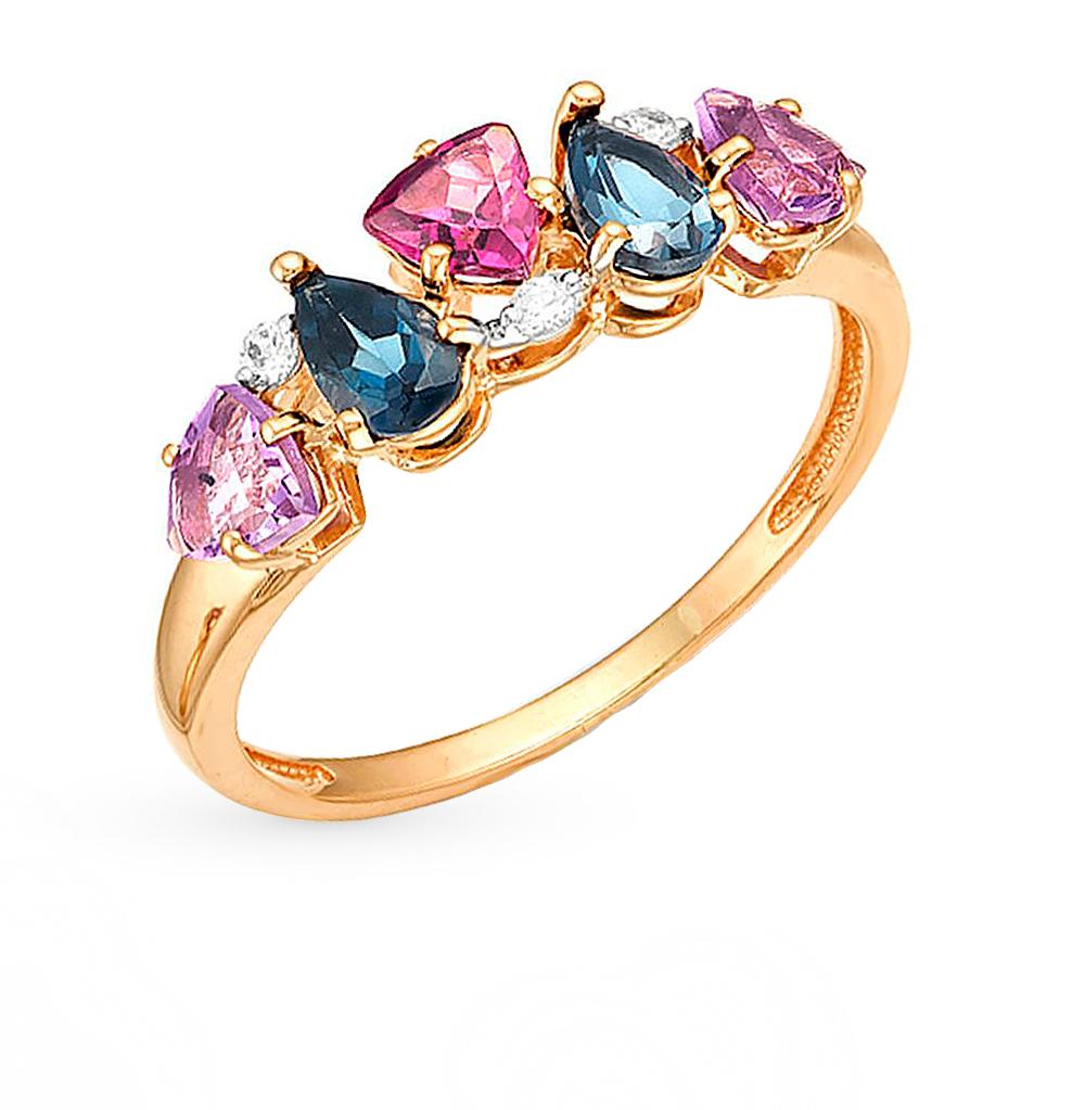 Фото «золотое кольцо с аметистами, топазами и родолитами»