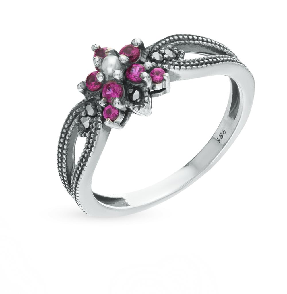 Фото «серебряное кольцо с марказитами, сапфирами синтетическими и жемчугами»