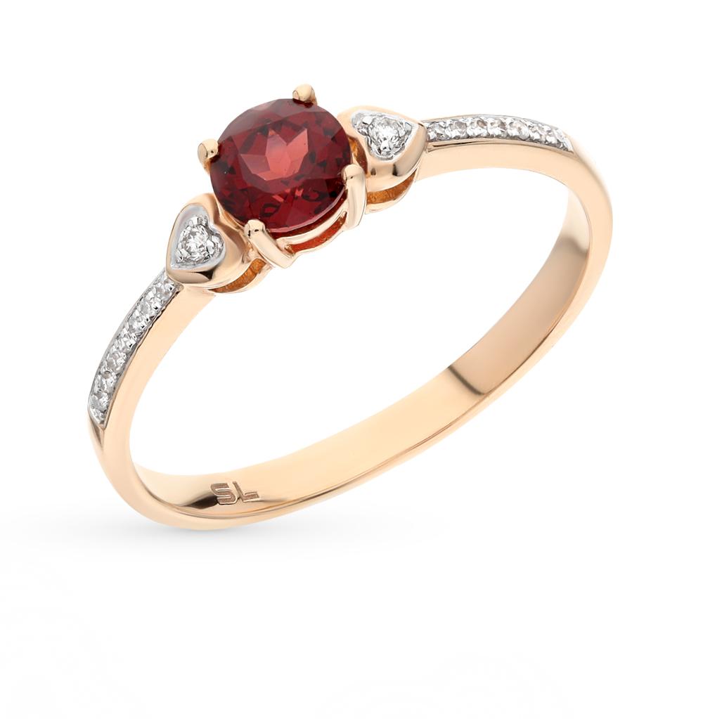 золотое кольцо с гранатом и бриллиантами SUNLIGHT