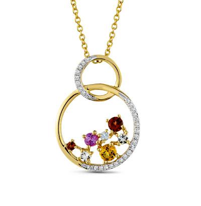 золотая подвеска с бриллиантами, гранатами, цитринами, кварцами, топазами и сапфирами SUNLIGHT