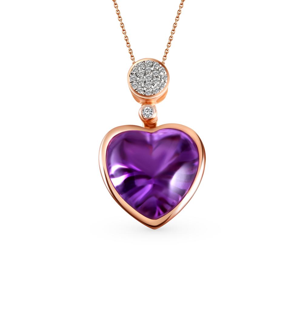 Фото «золото подвеска с бриллиантами и аметистами»