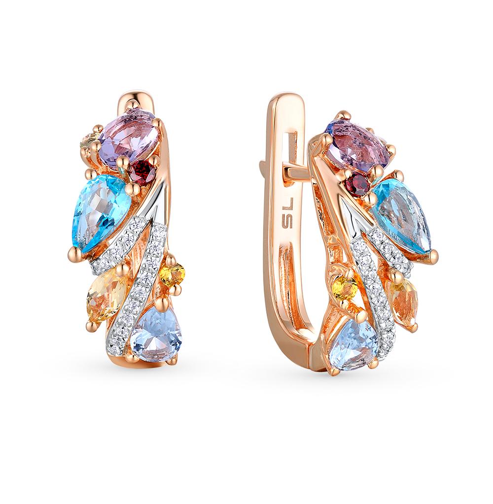 Фото «золотые серьги с бриллиантами, аметистами, гранатами, цитринами и хризолитами»