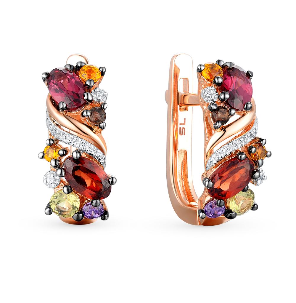 Фото «золотые серьги с бриллиантами, аметистами, гранатами, цитринами, кварцами и хризолитами»