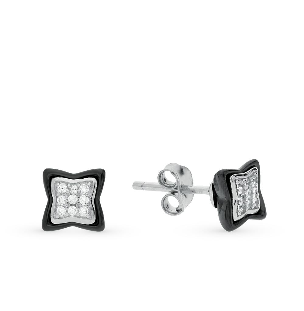 Фото «серьги из серебра и керамики с фианитом»