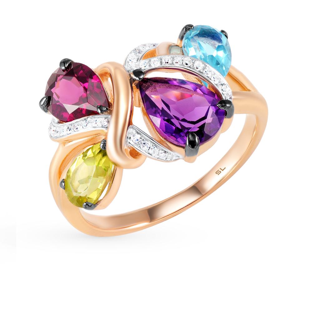 Фото «кольцо с бриллиантами, аметистами, гранатами, топазами и хризолитами»