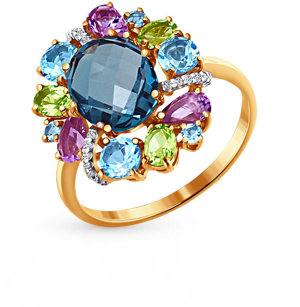 Фото «золотое кольцо с топазами, фианитами и хризолитом»