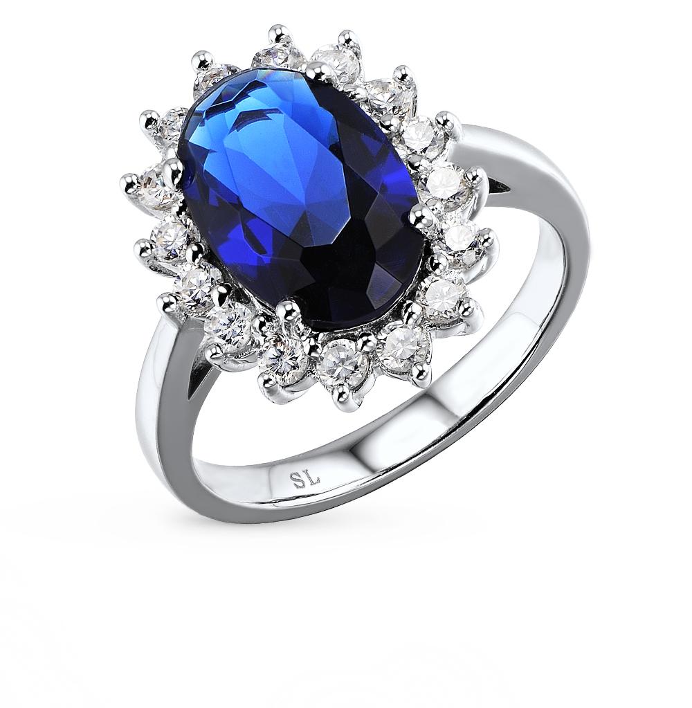 Фото «серебряное кольцо с алпанитом, фианитами и сапфирами синтетическими»