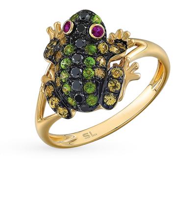Фото «золотое кольцо с чёрными бриллиантами, гранатом, рубинами и сапфирами»