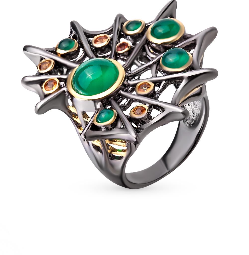 Фото «серебряное кольцо с агатом и сапфирами»